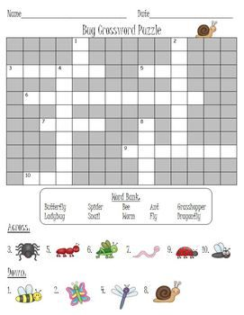 Bugs Insects Crossword Puzzle Classroom Freebies Crossword Insect Unit