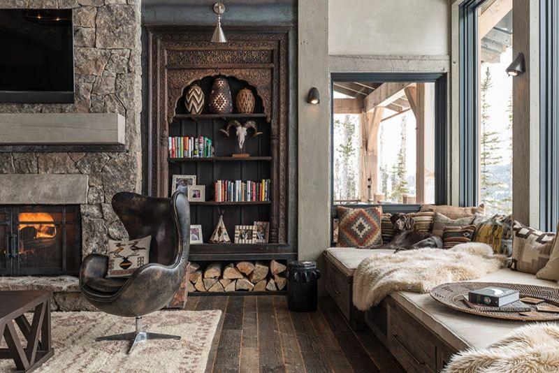meuble mexicain styles colonial et campagne m lang s coin lecture pierre naturelle et chemin e. Black Bedroom Furniture Sets. Home Design Ideas