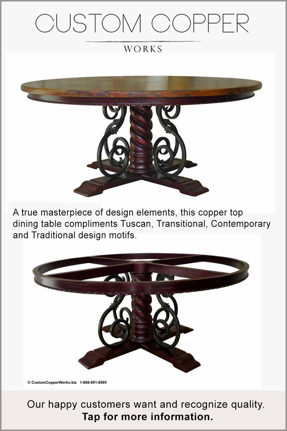 This Unique Custom Made Round Copper Table Top Mounted On