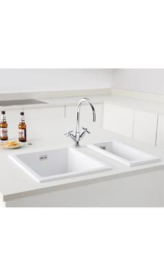 Butler & RoseSquare Inset or Undermount White Ceramic Kitchen Sink ...