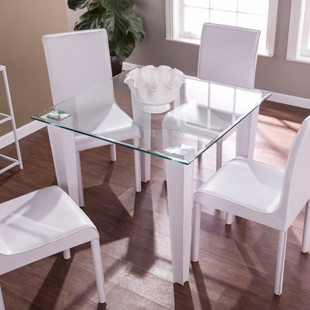 Perry Square Small Space Dining Table Glass W White Faux
