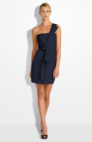 BCBGMAXAZRIA Drape Front One-Shoulder Satin Dress (Petite)  45e13a6a09c