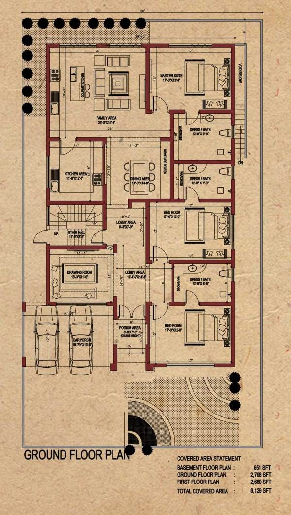 Room Plans Drawing: Location: DHA Lahore, Phase 7. Plot Size : 50 '-0'' X 89