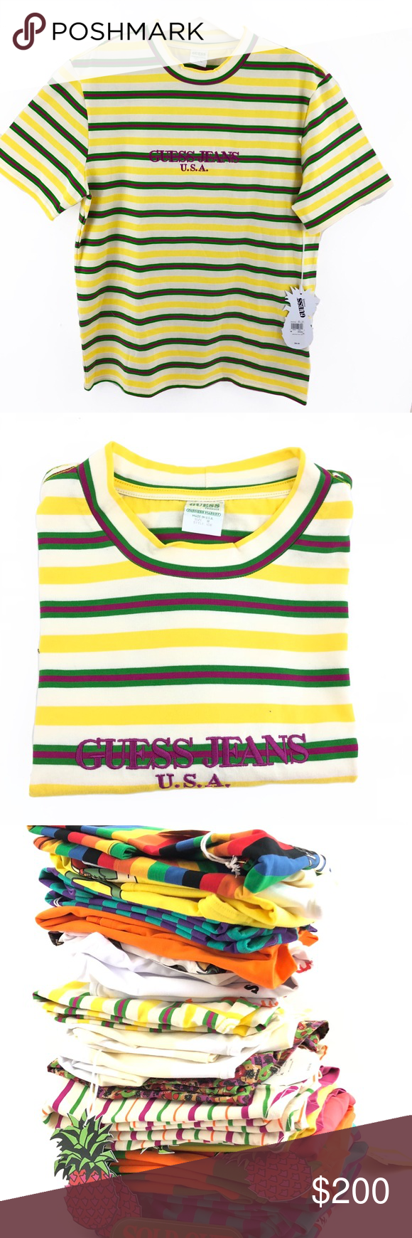 114ff4085ff Guess jeans X Sean Wotherspoon Striped T-shirt Guess jeans farmers market X Sean  Wotherspoon Pineapple Striped t shirt Sold out! Guess Shirts Tees - Short  ...