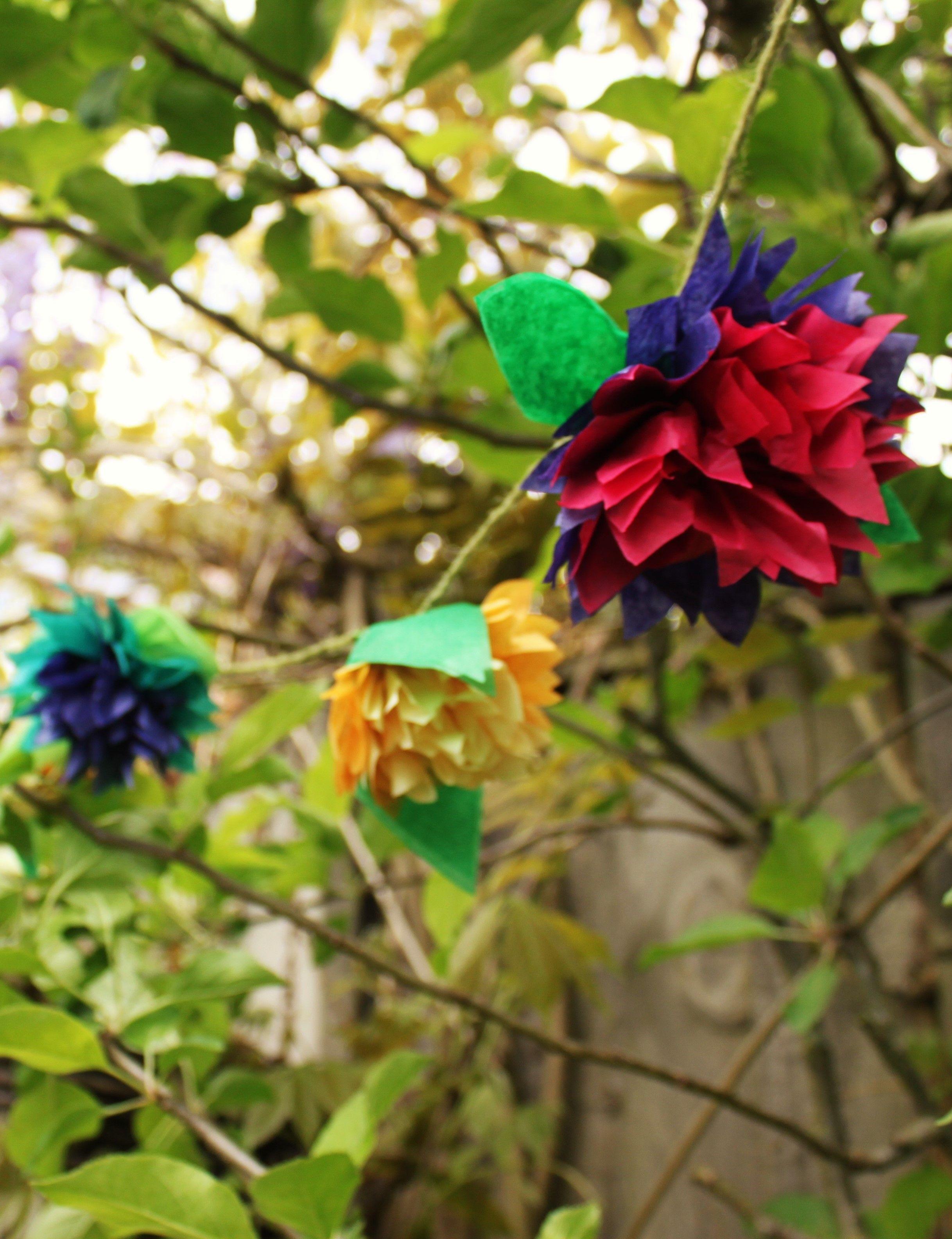 Tissue paper flower garland wedding papplewick woods papplewick tissue paper flower garland wedding papplewick woods mightylinksfo