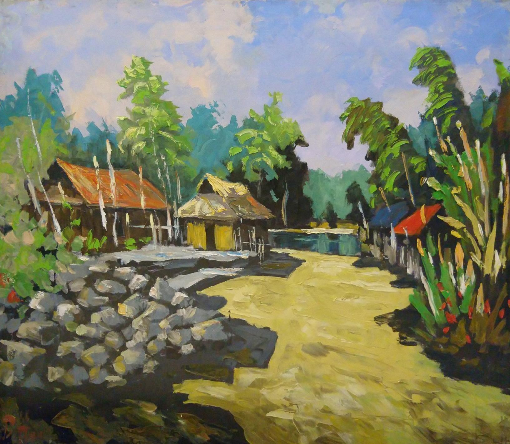 Village Scenery Handmade Oil Painting In D C Art Gallery Hanoi Vietnam 100 X 120 Cm Oilpainting Art Handmade Painting City Art Oil Painting
