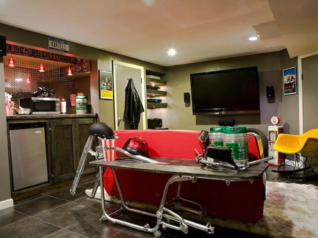 This tricked-out space features a new bar and home-theater and ...