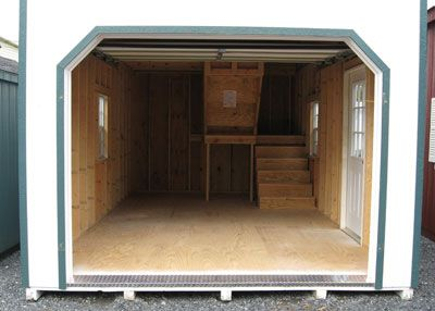 12x20 Two Story Shed Inside With Staircase