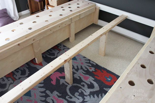 -built in farmhouse bed with drawers under   Modified King Size Farmhouse Bed with Storage Drawers   Pretty Handy ...