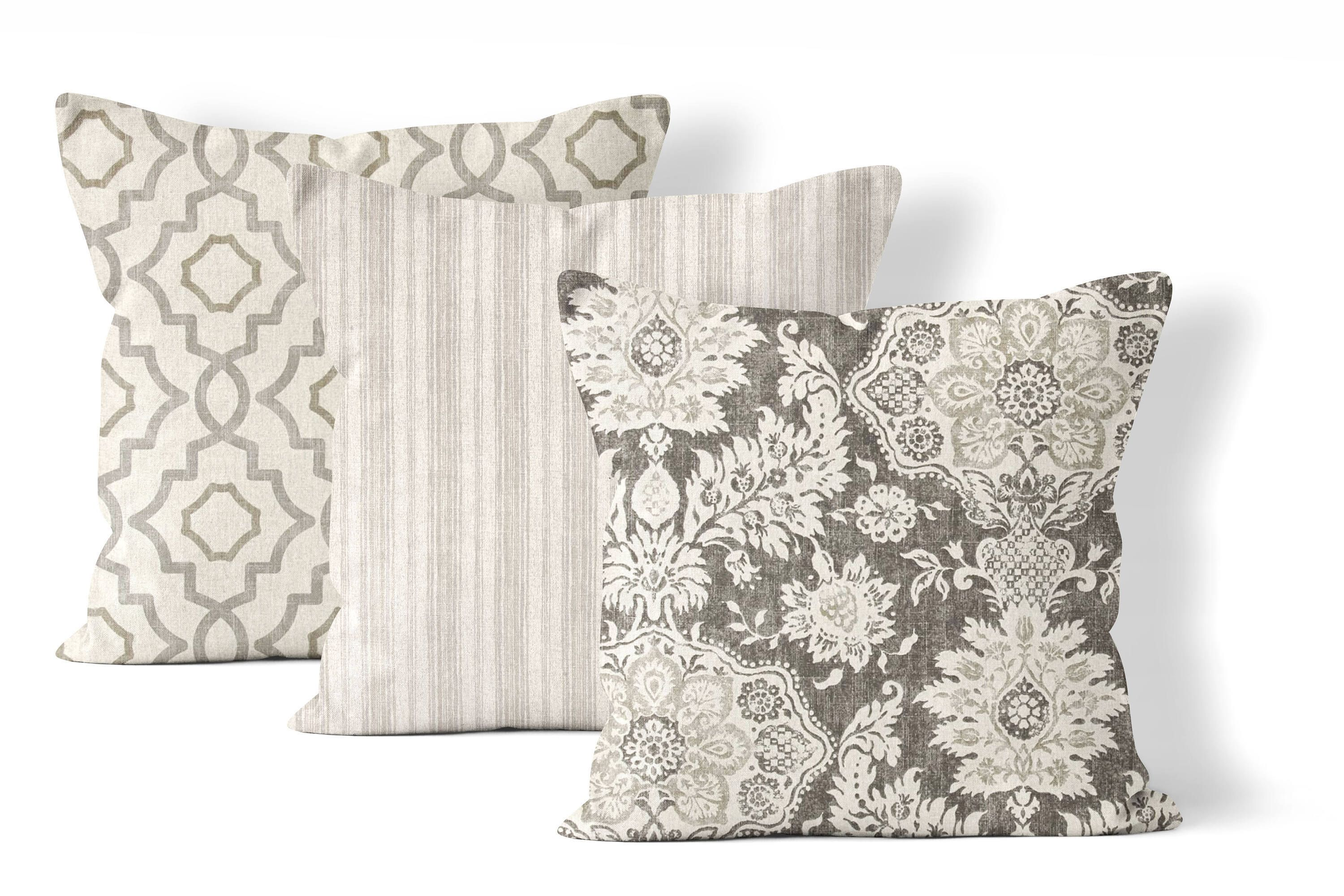 Matching Throw Pillow Set Large Pillow Covers 24x24 In Neutral