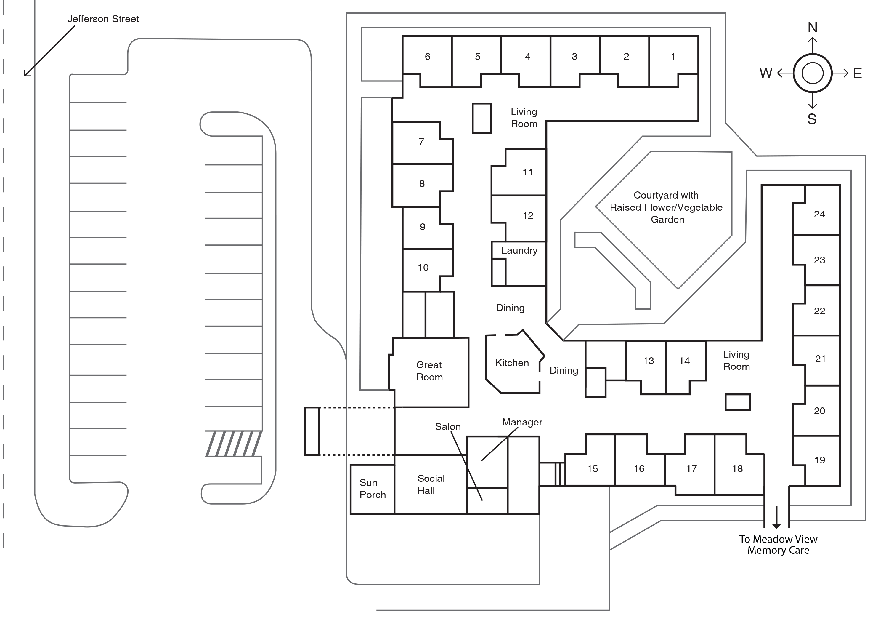 Meadow Ridge Assisted Living Building Plano Haga Clic Para Agrandar Floor Plans House Floor Plans Simple House Plans