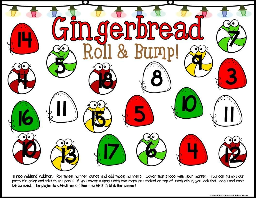 Gingerbread Math Center Dice Games
