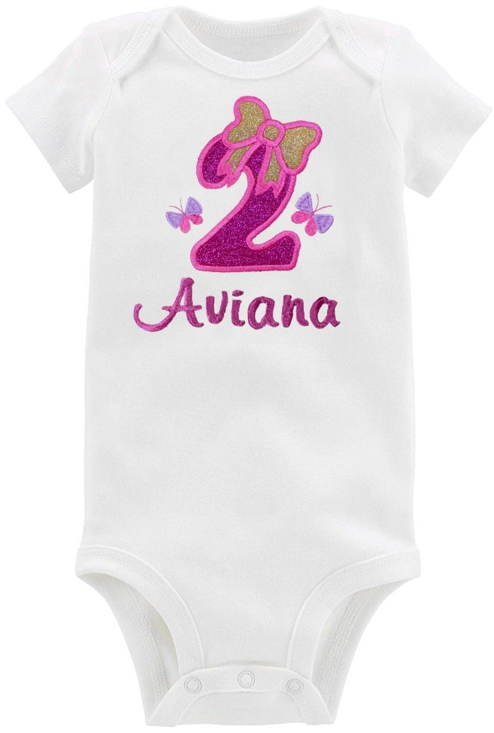Fantasy Kids Designs Embroidered Handmade Girls My Second Birthday Personalized Sparkling Bow T-Shirt or Onesie