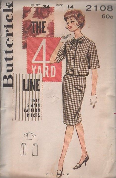 MOMSPatterns Vintage Sewing Patterns - Butterick 2108 Vintage 60's Sewing Pattern CHARMING Easy to Sew Mad Men Secretary The 4 Yard Line Suit Dress, Jacket Top, Sheath Skirt, 5 Main Pattern Pieces!