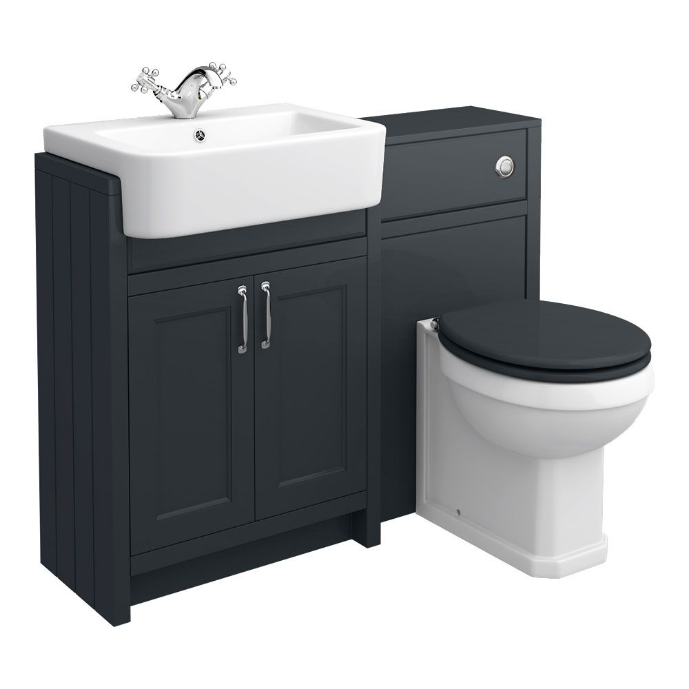 Chatsworth Traditional Graphite Semi Recessed Vanity Unit Toilet Package Victorian Plumbing Uk Toilet And Sink Unit Bathroom Sink Units Vanity Units