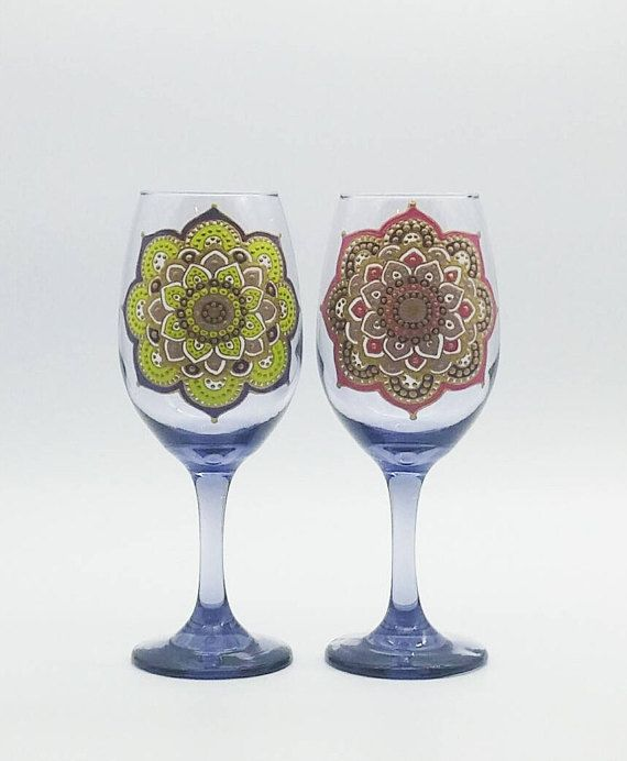 Mehndi Mandala Henna Moroccan Inspired Hand Painted Wine Glass