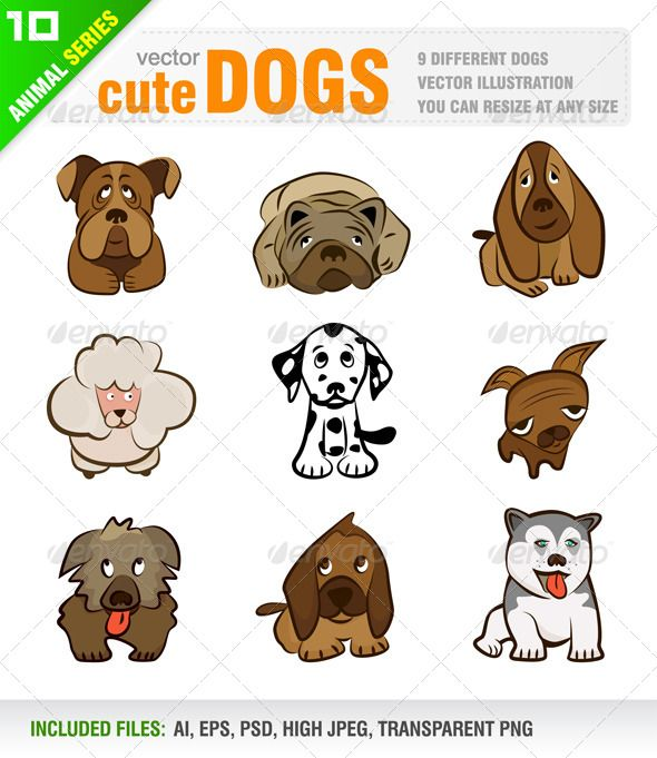 9 Cute Dogs GraphicRiver Vector set of cartoon style cute