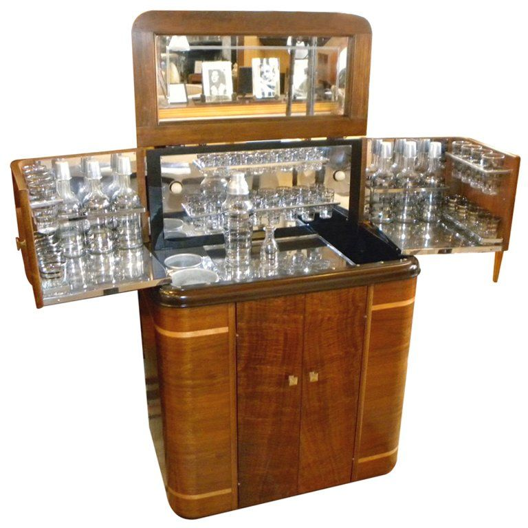 1930s American Art Deco Radio/Bar • RadioBar glasses complete | From a unique collection of antique and modern dry bars at https://www.1stdibs.com/furniture/storage-case-pieces/dry-bars/