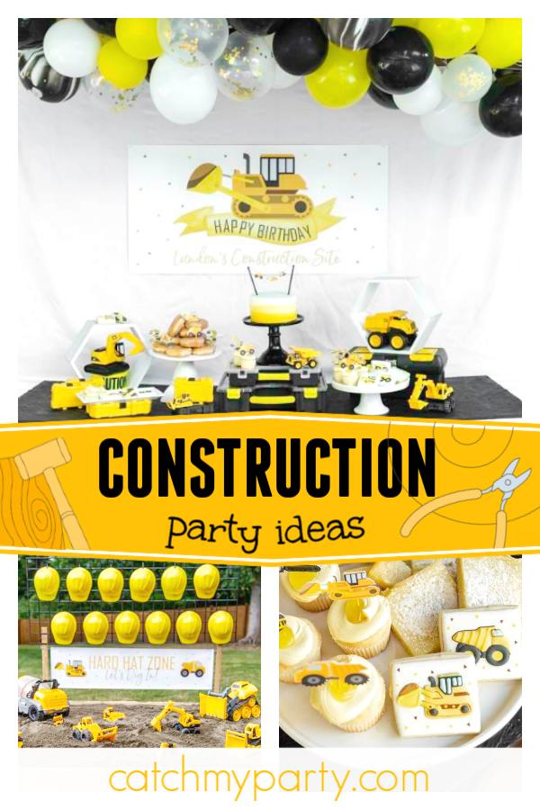 Construction Birthday Birthday Landon S Modern Construction Birthday Party Catch My Party Construction Birthday Birthday Party Activities Construction Birthday Parties