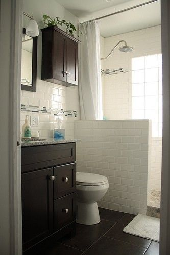 glass block with stepin shower  small bathroom with
