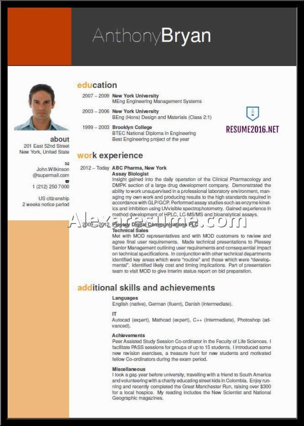 writing samples uncategorized sample resume template example - example of an excellent resume