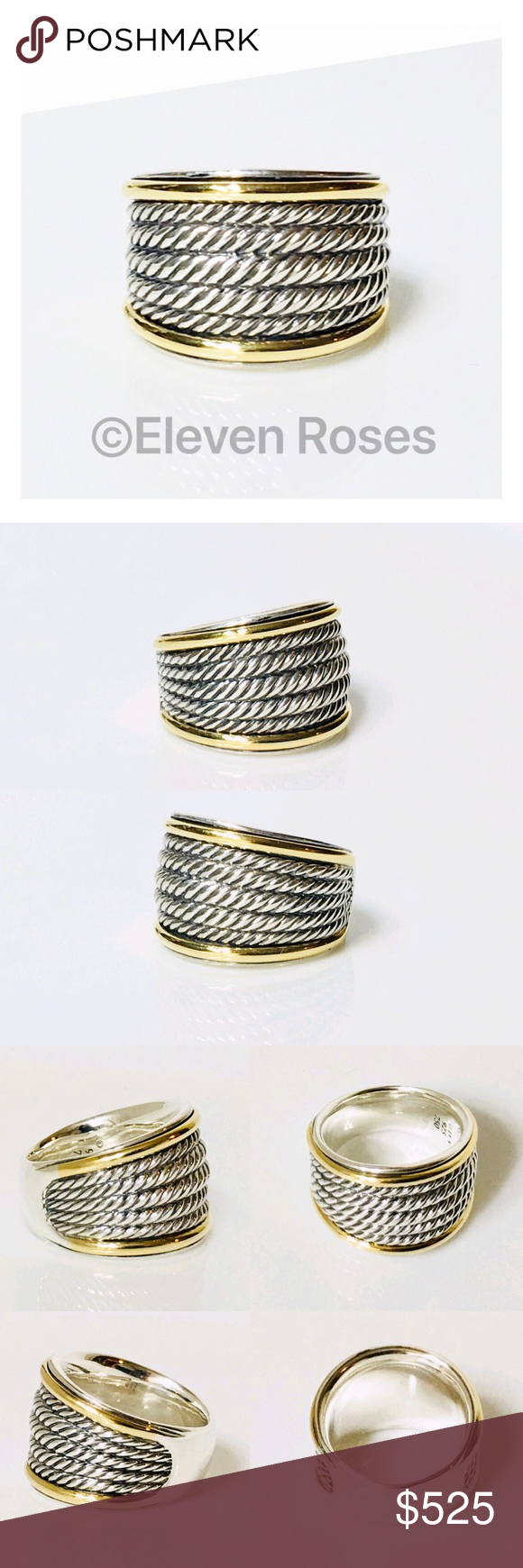 David Yurman Sterling & 18k Wide Cable Band Ring in 2020 ...