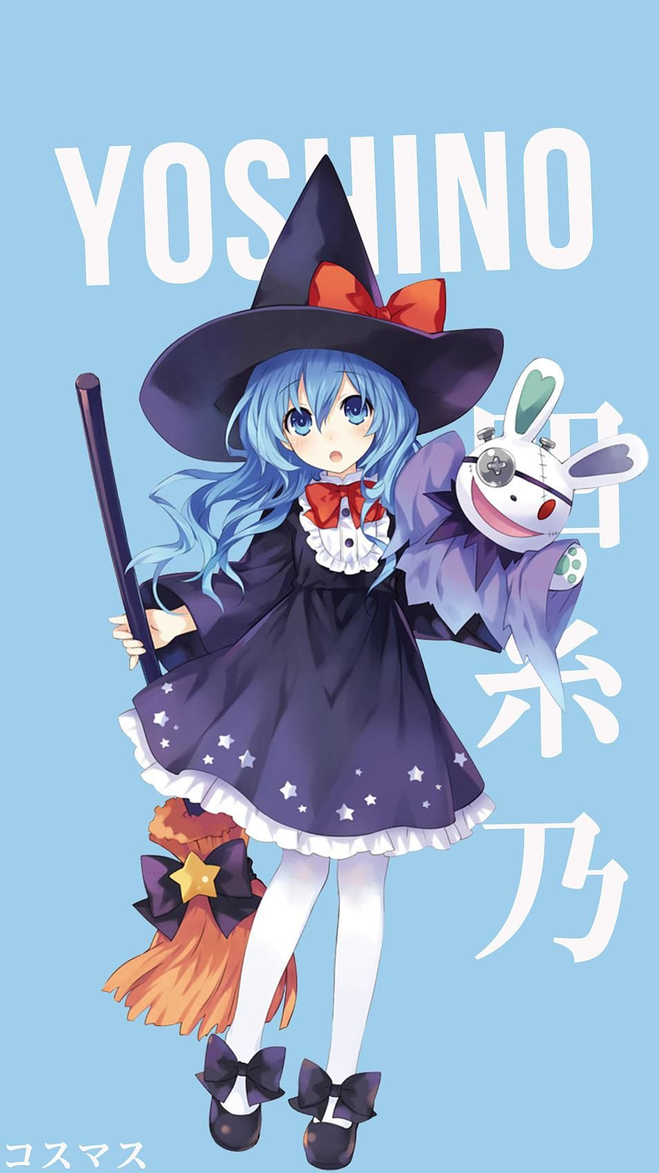 Yoshino in a witch costume. >,