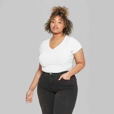 ab8c84979cdf4 Women s Plus Size Short Sleeve V-Neck T-Shirt - Wild Fable Eco White ...