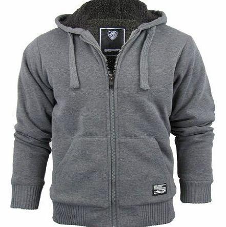 Mens Fur Lined Zip Up Marl Hoodie Jumper Sweatshirt Hooded Fleece Jacket Size...