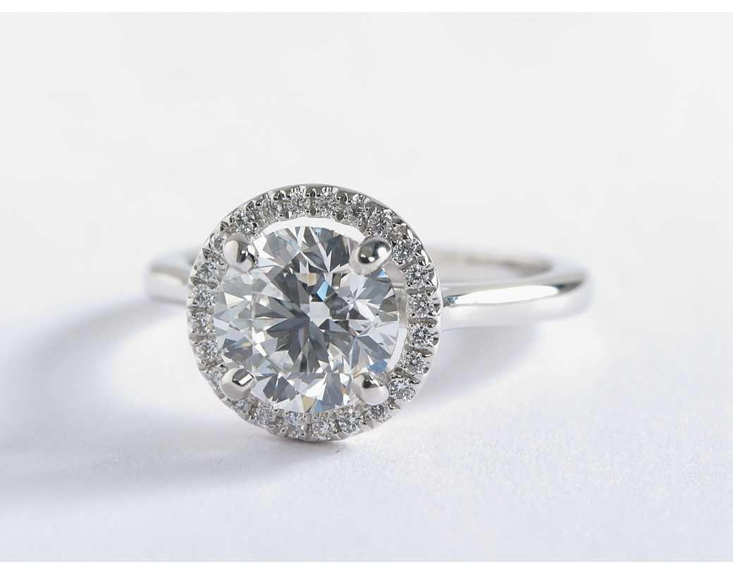 93a68cbbb 1.5 Carat Diamond Plain Shank Floating Halo Engagement Ring | Blue Nile  Engagement Ring