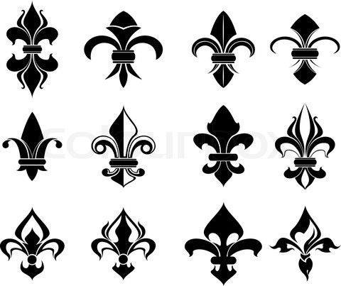 Stock vector of royal french lily symbols for design and decorate