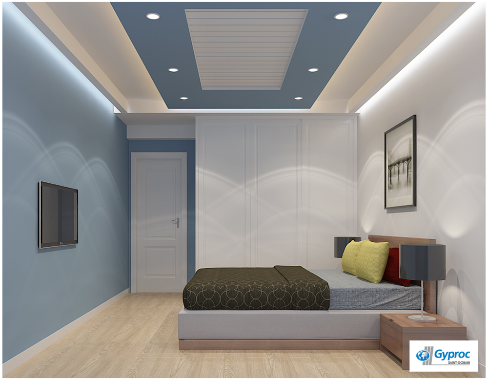 Simple yet beautiful bedroom designs only by gyproc to - Simple ceiling design for living room ...