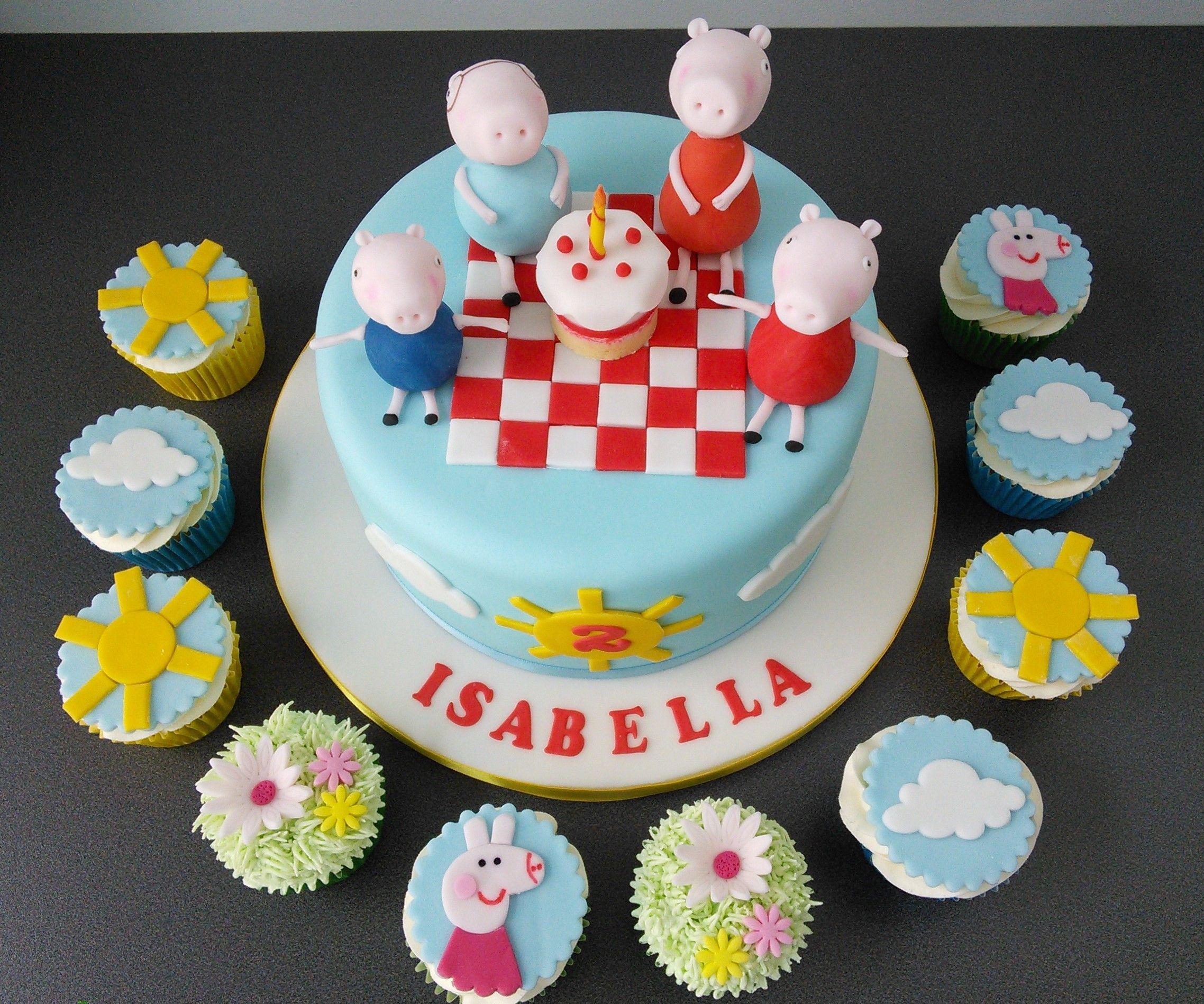 Dairy free vegan Peppa pig birthday cake and matching cupcakes