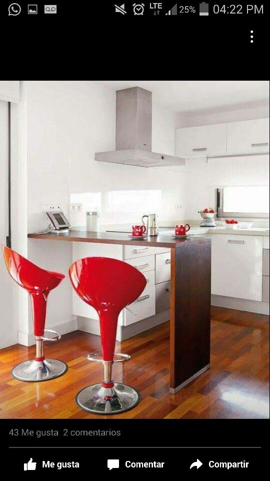 Barra cocina sillas rojas | cocina | Pinterest | Sillas rojas, Barra ...