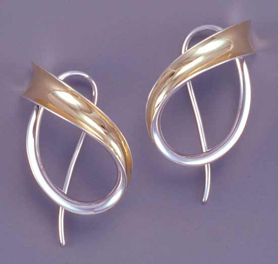 d83ce17a1 Sweeping Motion by Nancy Linkin: Silver & Gold Earrings available at  www.artfulhome.com