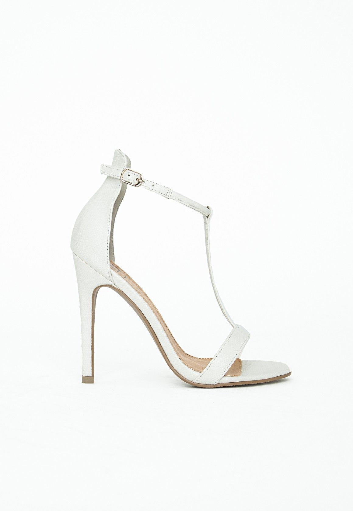Jasmine T bar Heeled Sandals White Croc Shoes Missguided