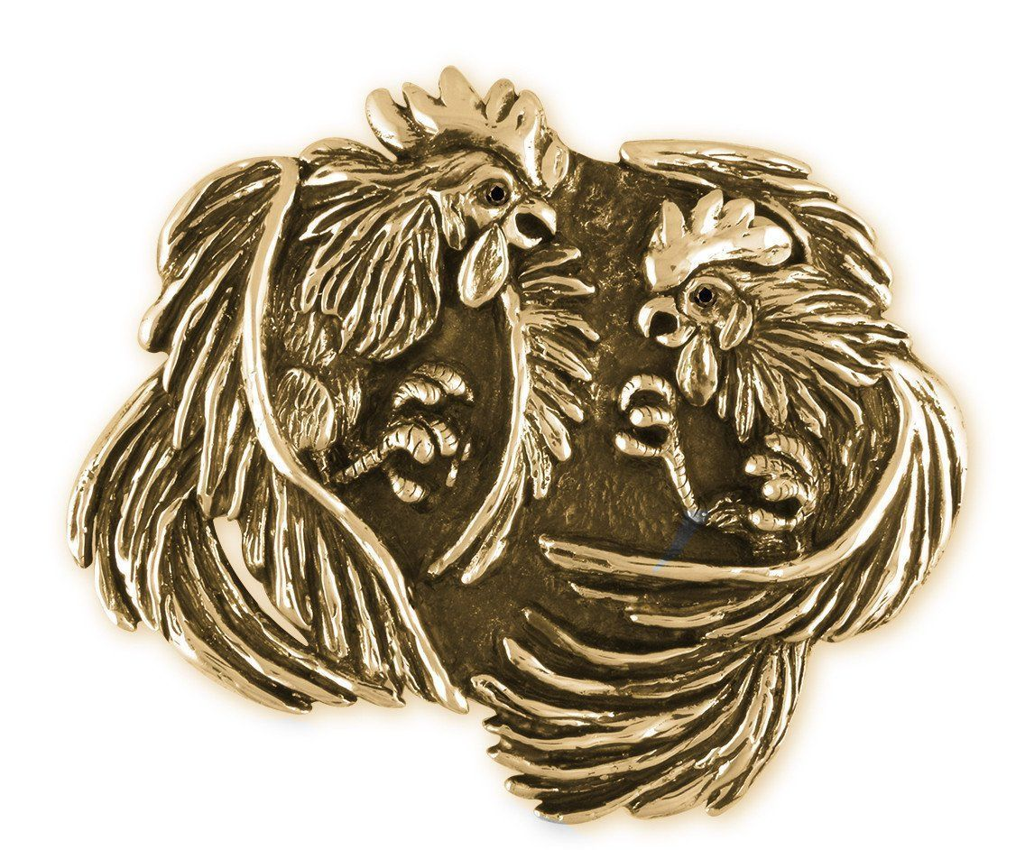 Fighting roosters belt buckle hand cast yellow bronze mens jewelry