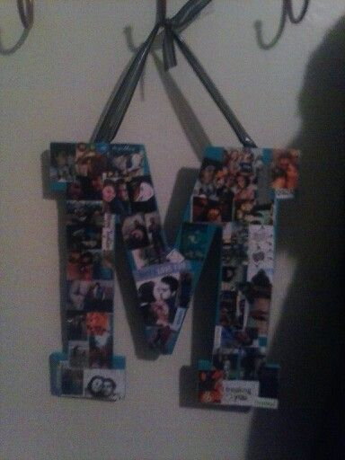 """Cute Valentine's or birthday gift. I went down to Michael's and bought an """"M"""", sanded the edges, i then painted it. I printed pictures off my computer and used delapodge to paste them on. Then finally added a glossy top coat, and added a ribbon to the top.. All ready for my boyfriends birthday!"""
