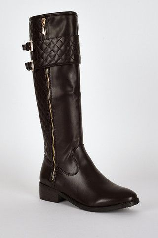 Quilted Panel Double Buckle Detail Calf Boots