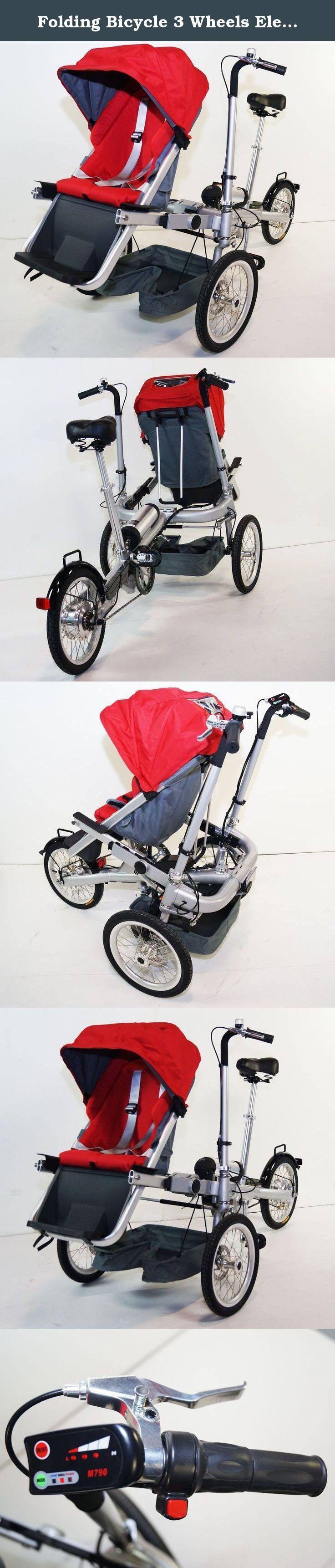 Folding Bicycle 3 Wheels Electric Stroller Bike Jogging