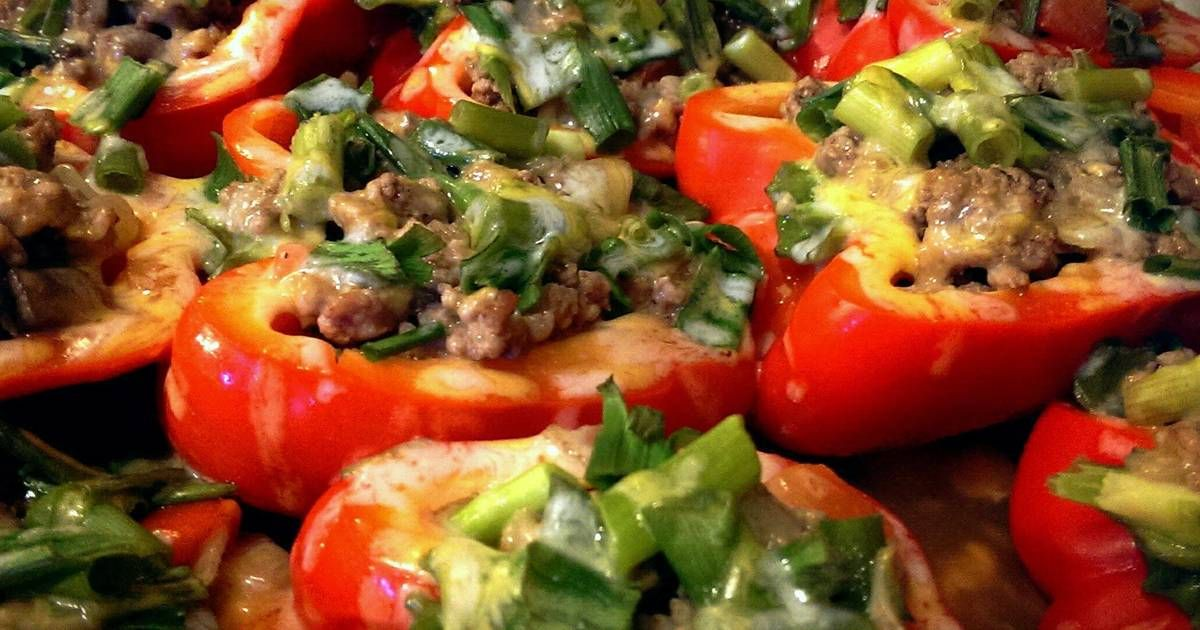 Stuffed Red Bell Peppers Without Rice Recipe By Erica Recipe Stuffed Peppers Stuffed Bell Peppers Recipes
