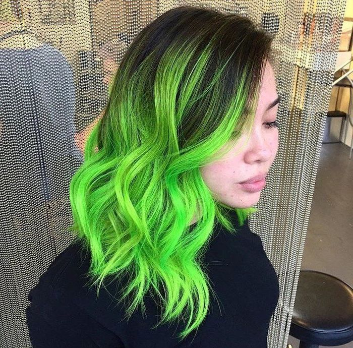 Dark Brown To Green Brown To Blonde Ombre Short Curly Hair Black Blouse Black Leather Stool In 2020 Neon Green Hair Spring Hair Color Short Green Hair