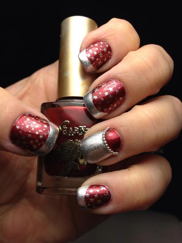 Super Starz - silver stars on burgundy polish nail art