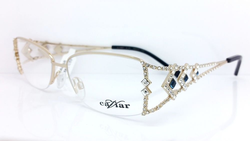 6366eb3e76 Caviar Eyeglasses M5587 C.55 Gold w Crystals 54mm Made in Italy Caviar 5587   caviar