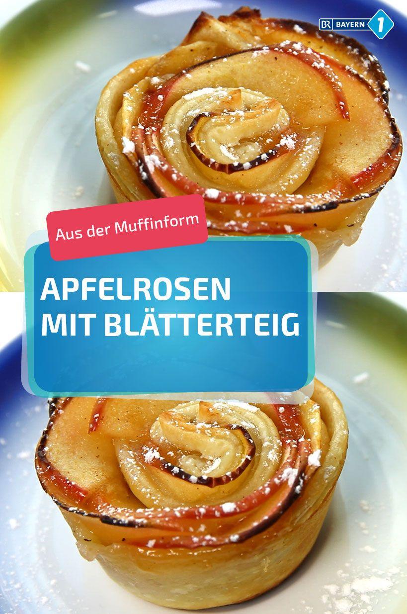 Apfel-Zimt-Rose - so schnell lässt sich ein Apfelröschen in der Muffinform nachmachen - mit Blätterteig und Zimt! #backen #Muffin #Apfel