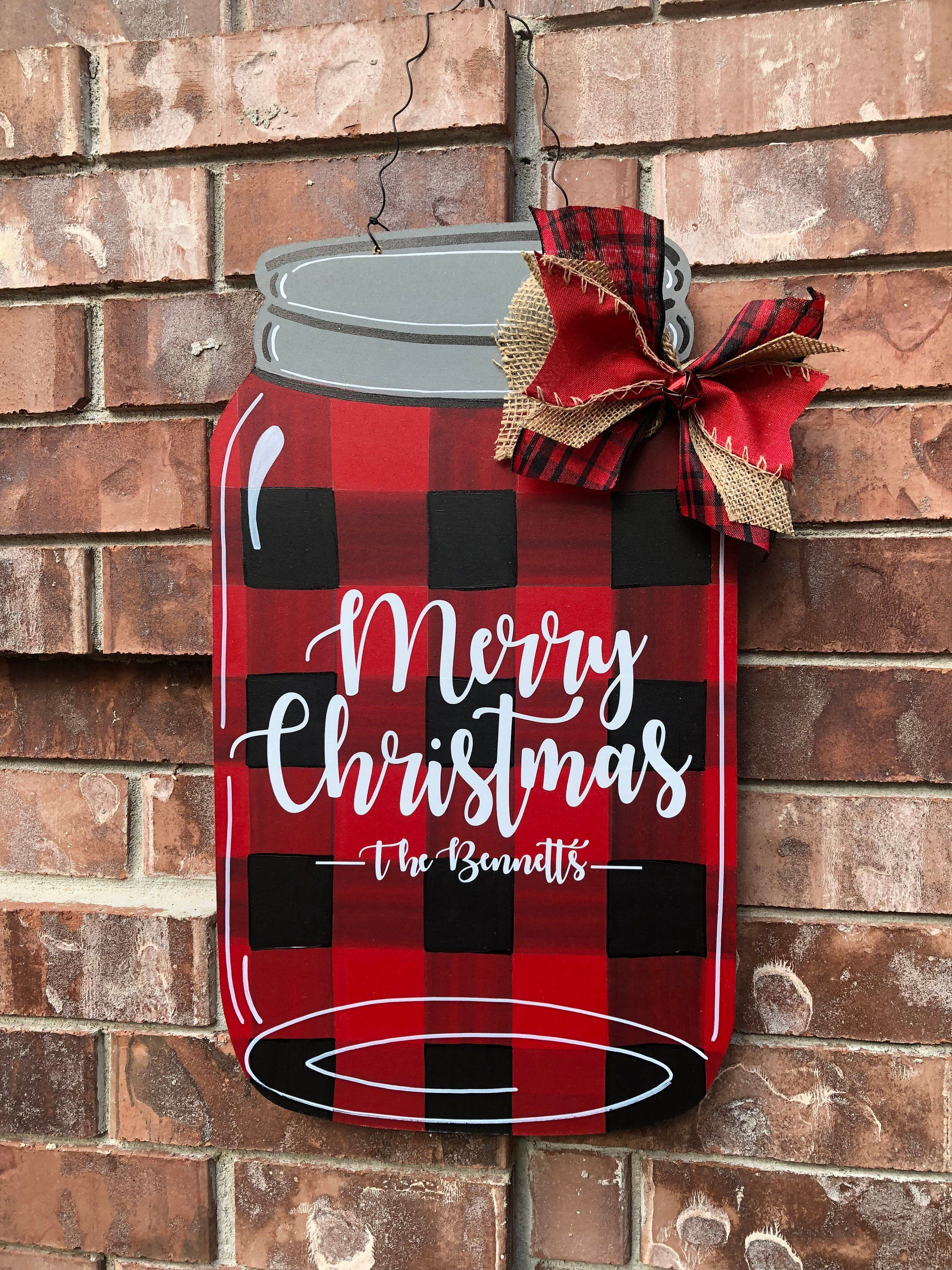 Christmas Door Hanger, Buffalo Plaid Door Hanger, Christmas Mason Jar, Christmas Plaid Door Hanger, Christmas Wreath, Rustic Christmas -   24 mason jar burlap