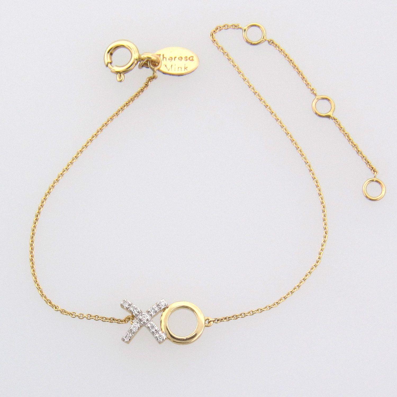 Diamond Xo Bracelet 14k Solid Gold Hugs And Kisses 276 00 Via Etsy
