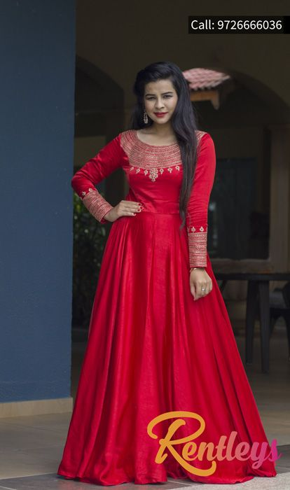 34a01eb81f6 Red Long Sleeve Embroidered Round Neck Wedding favourite designer Gown