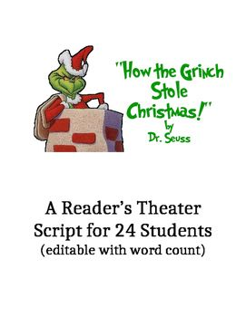 the grinch who stole christmas readers theater script c158 ideas pinterest readers theater grinch and christmas