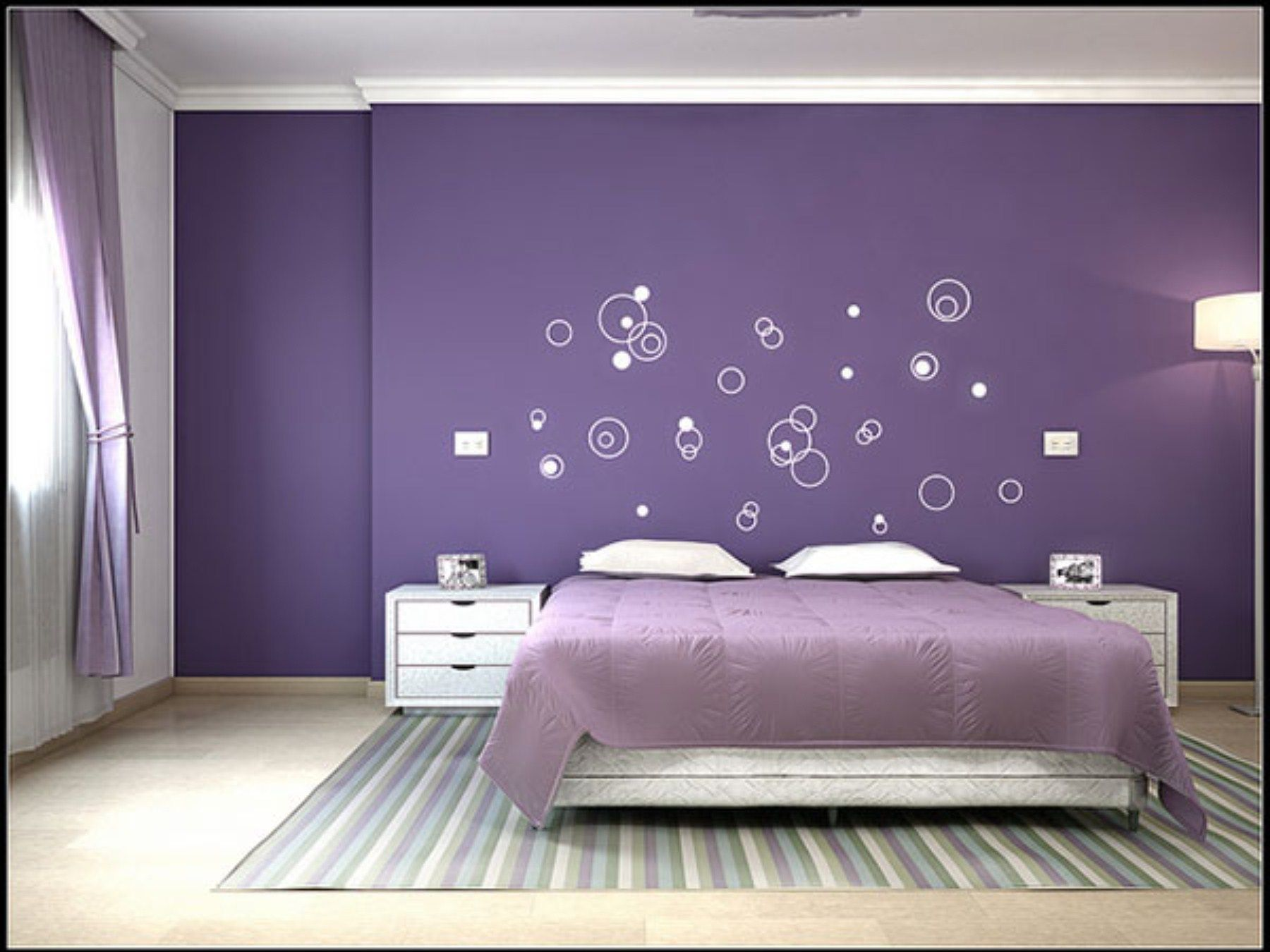 Purple Bedroom Color Schemes With Unique Wall Art